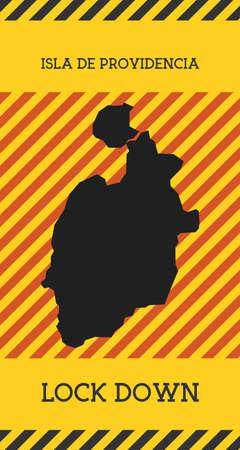 Isla de Providencia Lock Down Sign. Yellow island pandemic danger icon. Vector illustration.