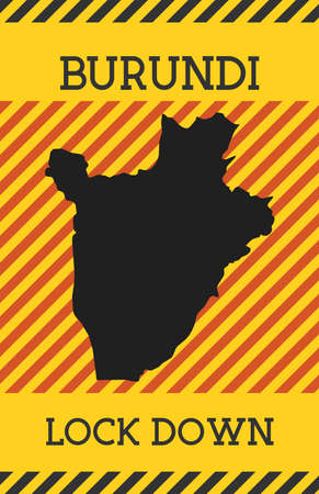 Burundi Lock Down Sign. Yellow country pandemic danger icon. Vector illustration.