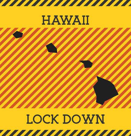 Hawaii Lock Down Sign. Yellow us state pandemic danger icon. Vector illustration.