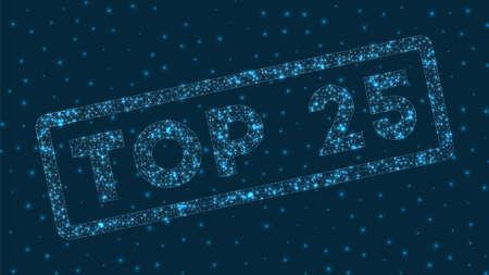 Top 25 word in digital style. Glowing geometric top 25 badge. Trendy vector illustration.
