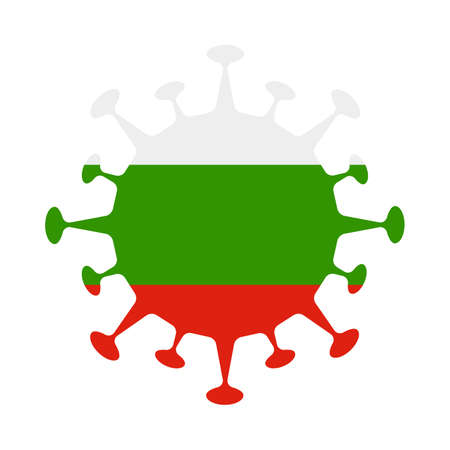 Flag of Bulgaria in virus shape. Country sign. Vector illustration. 向量圖像