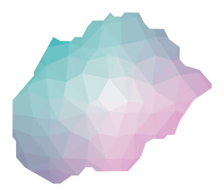 Polygonal map of Alegranza. Geometric illustration of the island in emerald amethyst colors. Alegranza map in low poly style. Technology, internet, network concept. Vector illustration.