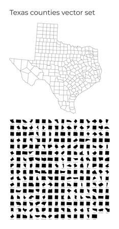 Texas map with shapes of regions. Blank vector map of the Us State with counties. Borders of the us state for your infographic. Vector illustration. Иллюстрация