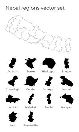 Nepal map with shapes of regions. Blank vector map of the Country with regions. Borders of the country for your infographic. Vector illustration. 向量圖像