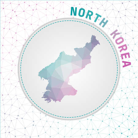 Vector polygonal North Korea map. Map of the country with network mesh background. North Korea illustration in technology, internet, network, telecommunication concept style.