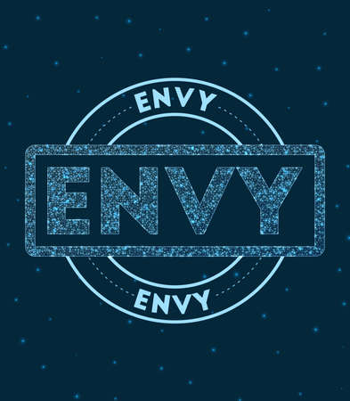 Envy. Glowing round badge. Network style geometric envy stamp in space. Vector illustration.