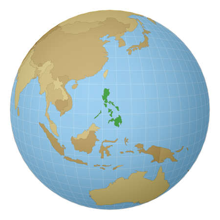 Globe centered to Philippines. Country highlighted with green color on world map. Satellite projection view. Vector illustration.