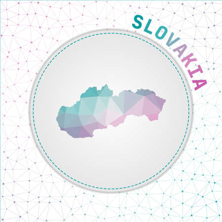 Vector polygonal Slovakia map. Map of the country with network mesh background. Slovakia illustration in technology, internet, network, telecommunication concept style . Vibrant vector illustration. 向量圖像