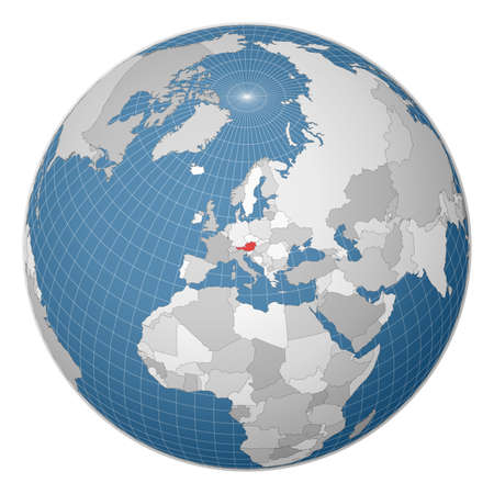 Globe centered to Austria. Country highlighted with green color on world map. Satellite world projection. Charming vector illustration. 免版税图像 - 150264103