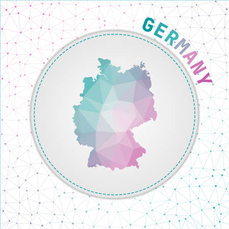 Vector polygonal Germany map. Map of the country with network mesh background. Germany illustration in technology, internet, network, telecommunication concept style . Artistic vector illustration.