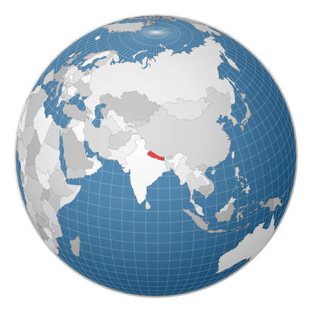 Globe centered to Nepal. Country highlighted with green color on world map. Satellite world projection. Awesome vector illustration.