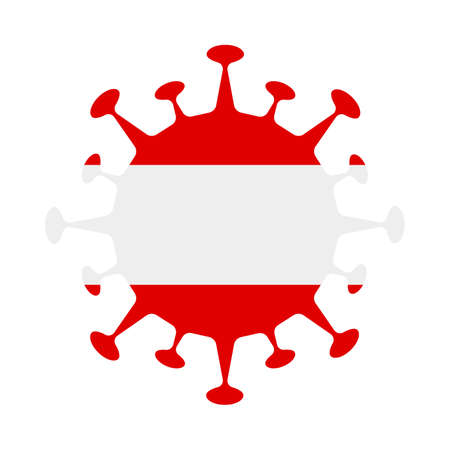 Flag of Austria in virus shape. Country sign. Vector illustration.