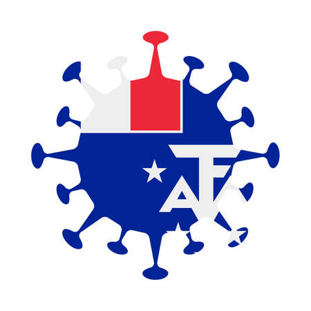Flag of TAAF in virus shape. Country sign. Vector illustration.