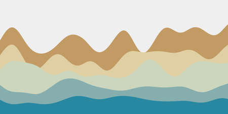 Abstract brown teal hills background. Colorful waves cool vector illustration. Illustration