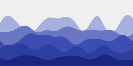 Abstract indigo hills background. Colorful waves creative vector illustration.