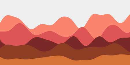 Abstract reddish hills background. Colorful waves awesome vector illustration.
