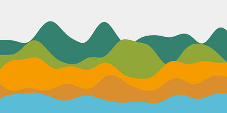 Abstract contrast blue orange green hills background. Colorful waves astonishing vector illustration. Ilustrace
