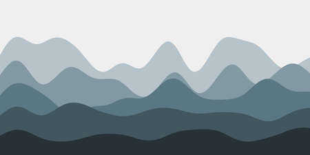 Abstract blue grey hills background. Colorful waves authentic vector illustration.