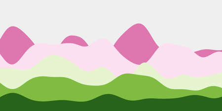 Abstract purple yellow green hills background. Colorful waves attractive vector illustration. Ilustrace