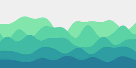 Abstract teal green hills background. Colorful waves beautiful vector illustration.
