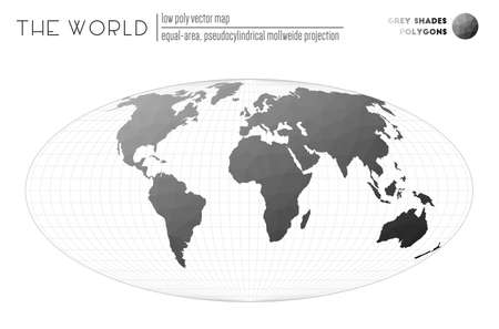 Abstract geometric world map. Equal-area, pseudocylindrical Mollweide projection of the world. Grey Shades colored polygons. Elegant vector illustration.