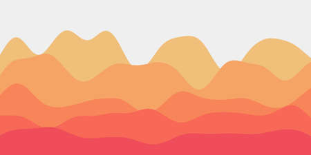 Abstract yellow orange hills background. Colorful waves radiant vector illustration.