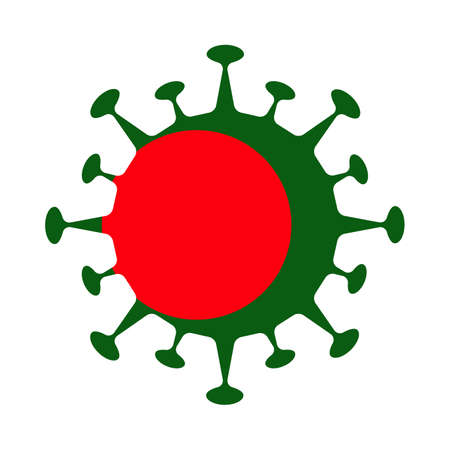 Flag of Bangladesh in virus shape. Country sign. Vector illustration. Ilustração