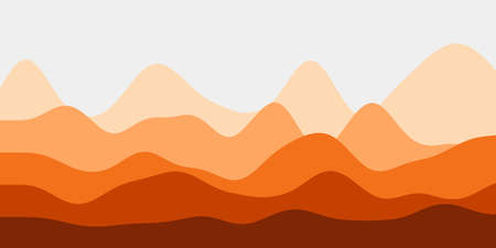 Abstract orange hills background. Colorful waves vibrant vector illustration.