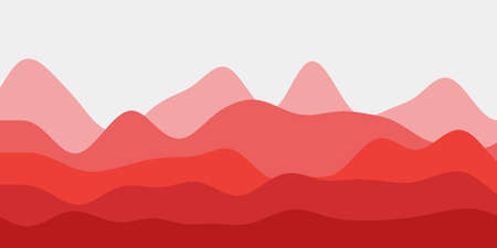 Abstract red hills background. Colorful waves superb vector illustration. Ilustracja