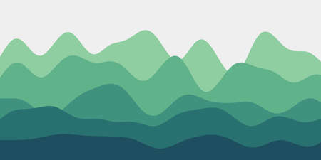 Abstract blue green hills background. Colorful waves attractive vector illustration.