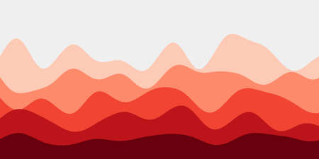 Abstract red hills background. Colorful waves powerful vector illustration.