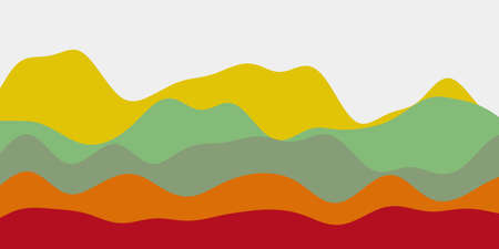 Abstract bright contrast hills background. Colorful waves authentic vector illustration.