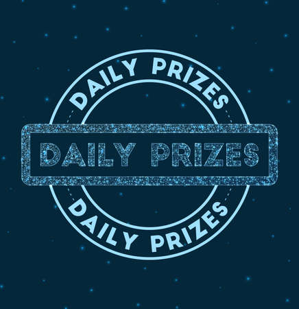 Daily prizes. Glowing round badge. Network style geometric daily prizes stamp in space. Vector illustration.