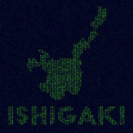Island symbol in hacker style. Binary code map of Ishigaki with island name. Stylish vector illustration. Illustration
