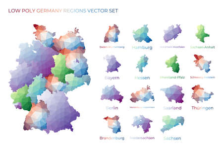 German low poly regions. Polygonal map of Germany with regions. Geometric maps for your design. Appealing vector illustration.