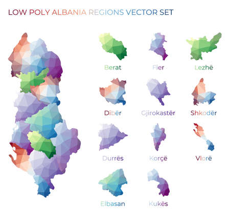 Albanian low poly regions. Polygonal map of Albania with regions. Geometric maps for your design. Charming vector illustration.