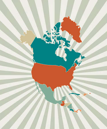 North America map. Poster with map of the continent in retro color palette. Shape of North America with sunburst rays background. Vector illustration.