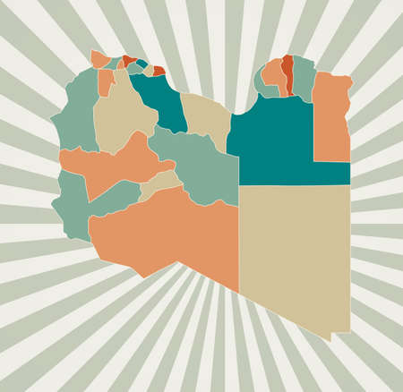 Libya map. Poster with map of the country in retro color palette. Shape of Libya with sunburst rays background. Vector illustration.