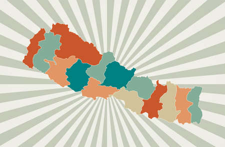 Nepal map. Poster with map of the country in retro color palette. Shape of Nepal with sunburst rays background. Vector illustration.