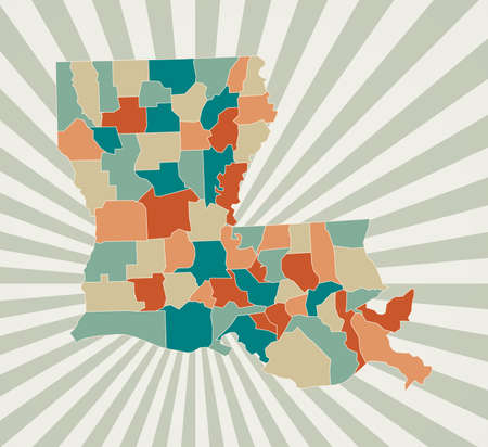 Louisiana map. Poster with map of the us state in retro color palette. Shape of Louisiana with sunburst rays background. Vector illustration.