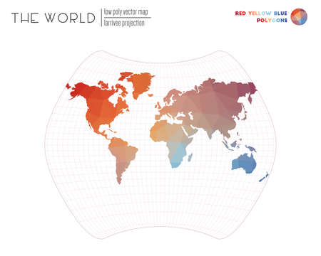 Polygonal world map. Larrivee projection of the world. Red Yellow Blue colored polygons. Neat vector illustration.
