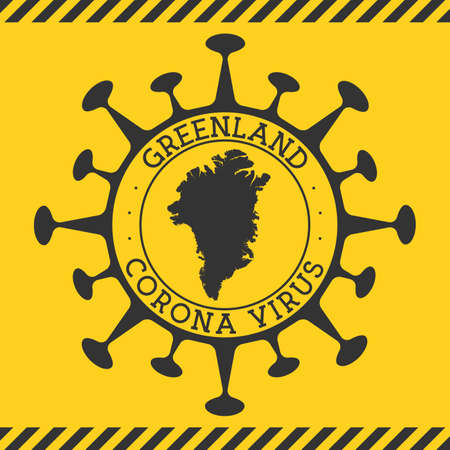 Corona virus in Greenland sign. Round badge with shape of virus and Greenland map. Yellow country epidemy lock down stamp. Vector illustration. Vectores