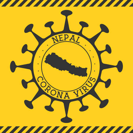 Corona virus in Nepal sign. Round badge with shape of virus and Nepal map. Yellow country epidemy lock down stamp. Vector illustration.