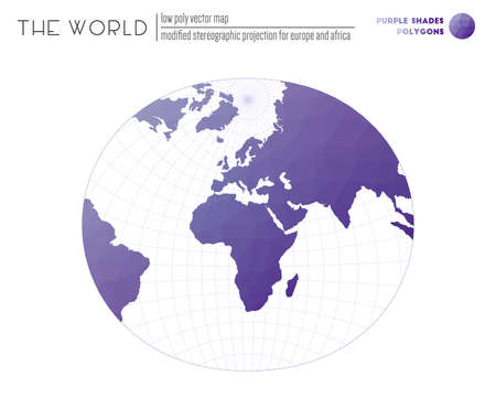 World map in polygonal style. Modified stereographic projection for Europe and Africa of the world. Purple Shades colored polygons. Beautiful vector illustration. 일러스트