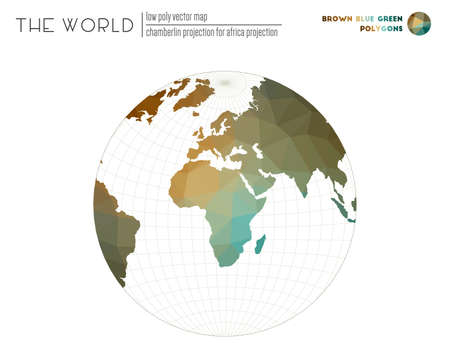 World map in polygonal style. Chamberlin projection for Africa projection of the world. Brown Blue Green colored polygons. Trending vector illustration. 일러스트