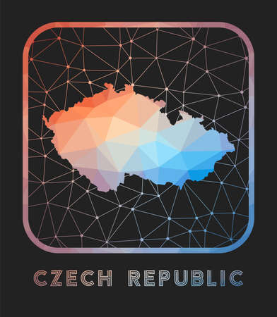 Czech Republic map design. Vector low poly map of the country. Czech Republic icon in geometric style. The country shape with polygnal gradient and mesh on dark background. 矢量图像