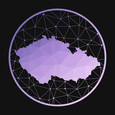 Czech Republic icon. Vector polygonal map of the country. Czech Republic icon in geometric style. The country map with purple low poly gradient on dark background.