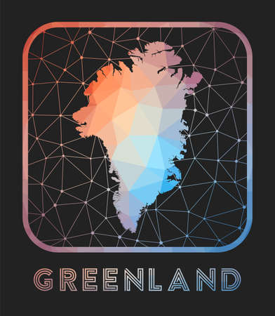 Greenland map design. Vector low poly map of the country. Greenland icon in geometric style. The country shape with polygnal gradient and mesh on dark background.