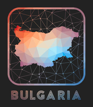 Bulgaria map design. Vector low poly map of the country. Bulgaria icon in geometric style. The country shape with polygnal gradient and mesh on dark background. Vettoriali