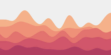 Abstract orange pink hills background. Colorful waves artistic vector illustration.